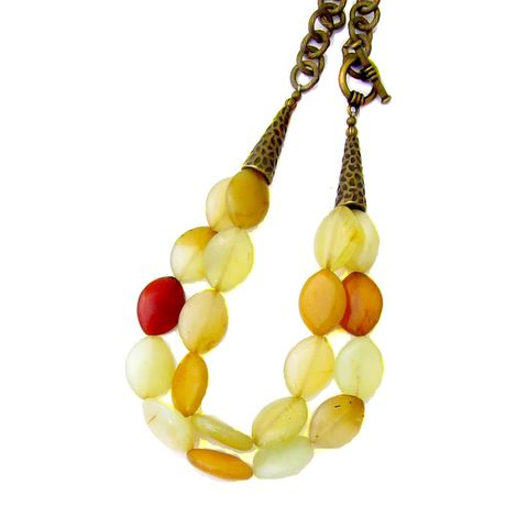Soft,Yellow,Agate,Two,Strand,Beaded,Necklace,with,Side,Toggle,Clasp:,Melondrop,chunky yellow agate necklace, toggle and clasp agate necklace, chunky chain necklace, soft yellow stone necklace, chain and gemstone necklace, agate jewelry