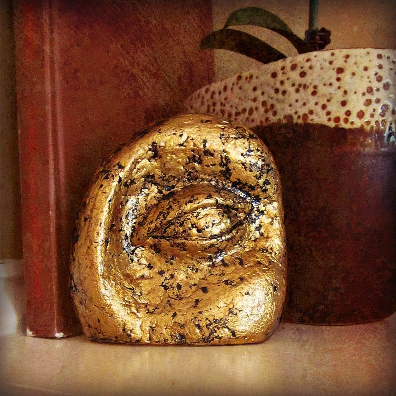 Paper Mache Eye Sculpture, Abstract Recycled Art with Gold Leaf: Ancient Infinite #001 - product images  of