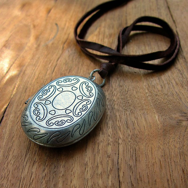 Long Locket Pendant Necklace on Leather Cord: Berkley - product images  of