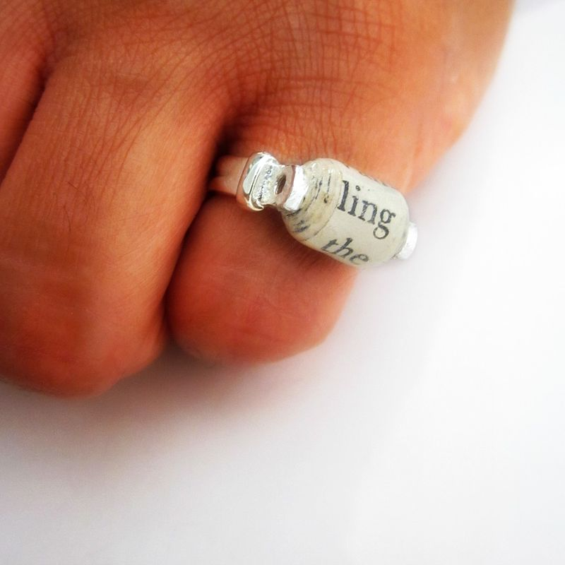 Recycled Paper Ring with Antique White Paper Bead on Silver Plated Size 6 Ring - product images  of