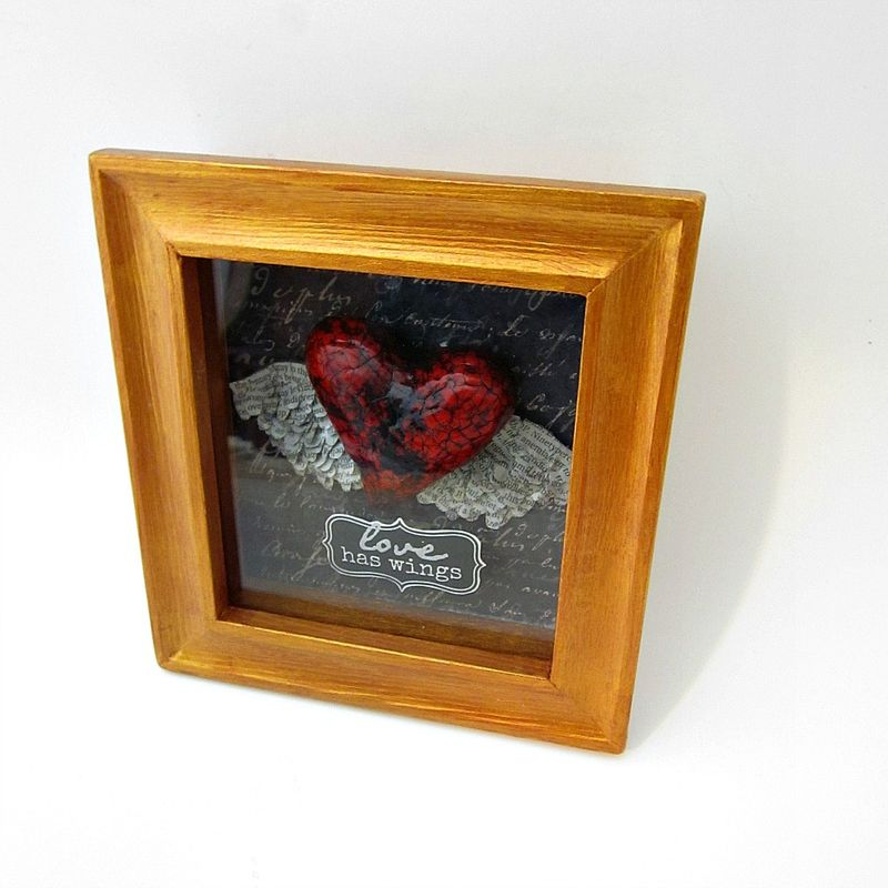 Shadow Box Heart Keepsake, Paper Mache Heart with Newspaper Wings: Temperate - product images  of