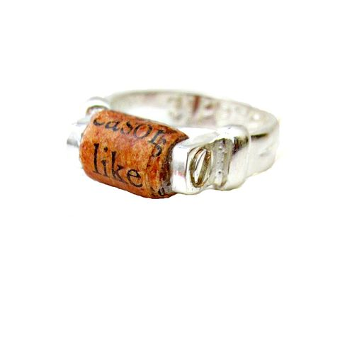 Recycled,Paper,Ring,,Rust,Colored,Bead,on,Silver,Plated,Size,5½,Ring:,Like,paper bead jewelry, silver ring, recycled jewelry, handmade paper ring, size 5½ ring, recycled style