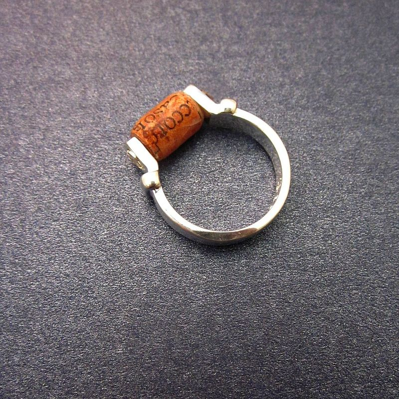 Recycled Paper Ring, Rust Colored Paper Bead on Silver Plated Size 5½ Ring: Like - product images  of