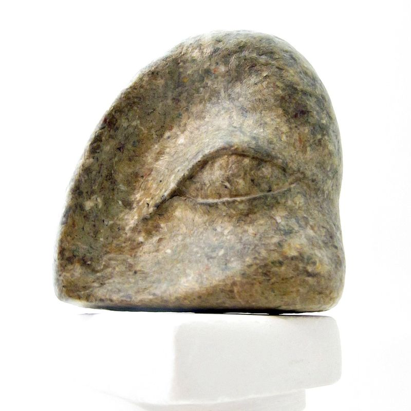 Paper Mache Eye Sculpture, Faux Stone Recycled Abstract Art: Ancient Infinite #002 - product images  of