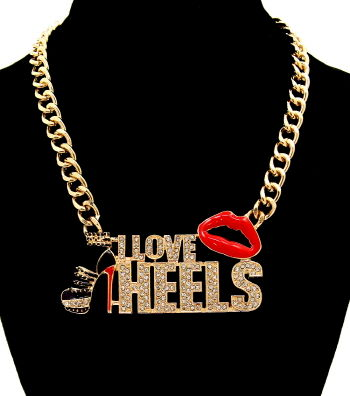 Gold,-,I,Love,Heels,Necklace,heels necklace, i love heels necklace, rhinestone necklace, shoe lover necklace, shoe necklace
