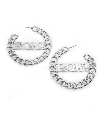 Silver,POW!,Earrings,silver earrings, pow earrings, hoop earrings, word earrings, fashion earrings, fahion jewelry