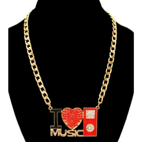Gold,-,Red,I,Love,Music,Necklace,music is my life necklace, gold necklace, music lover necklace, music necklace,