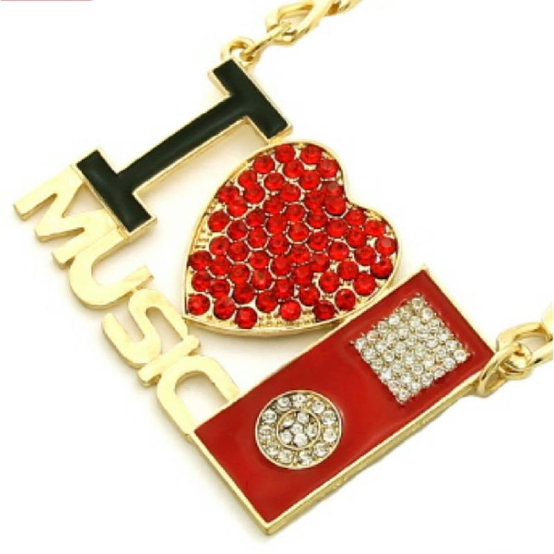 Gold - Red I Love Music Necklace - product images  of