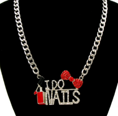 SIlver,I,Do,Nails,Necklace,i do nails necklace, nail tech necklace, mails necklace, nail polish necklace, rhinestone necklace
