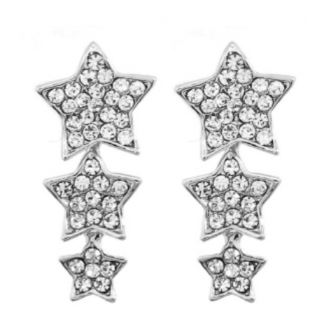 Three,Silver,Star,Earrings