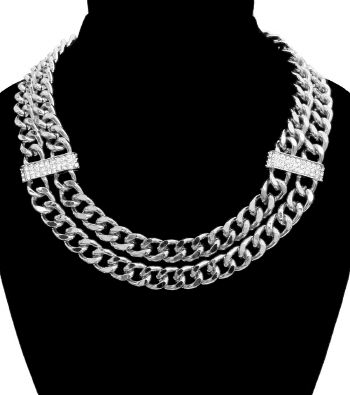 Silver,Double,Link,Choker,silver necklace, choker necklace, two layer necklace, rhinestone necklace, celebrity inspired necklace