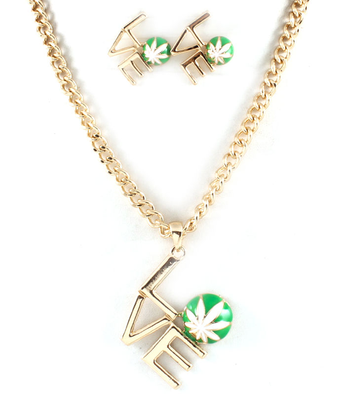 Love Marijuana Necklace and Earrings Set - product image