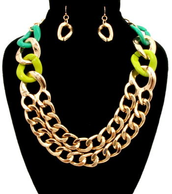 Green,and,Gold,Link,Necklace,Earrings,Set