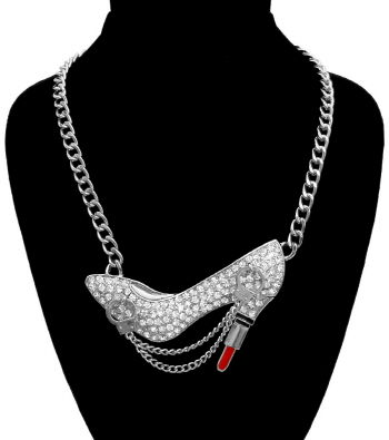 Silver,Rhinestone,Heel,Necklace,silver heel necklace, rhinestone heel necklace, lipstick heel necklace