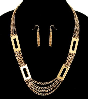 Gold Classic Square Links Necklace and Earrings Set - product images  of