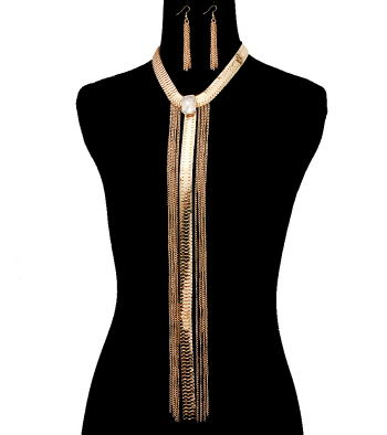 Gold Y Line Choker Necklace and Earrings Set - product image