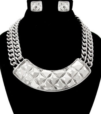 Silver Quilting Pattern Necklace and Earrings Set - product images  of