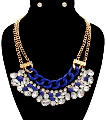 Blue,Stone,Statement,Necklace,and,Earrings,Set,necklace, statement necklace, flower pearl necklace, pearl necklace
