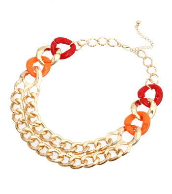 Orange, Red and Gold Link Necklace and Earrings Set - product images  of
