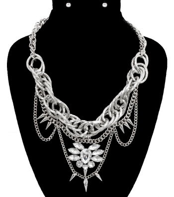 Silver,Chain,Drop,with,Stone,Necklace,and,Earrings,Set