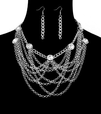 Silver Layered Chains with Stones Necklace and Earrings Set - product image