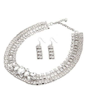 Silver Chunky Chain Stone Necklace and Earrings Set - product images  of