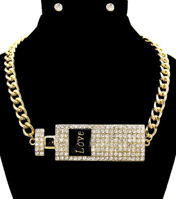 Gold,Love,Perfume,Necklace,and,Earrings,Set