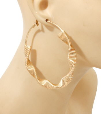 Gold Twisted Hoop Earrings - product image