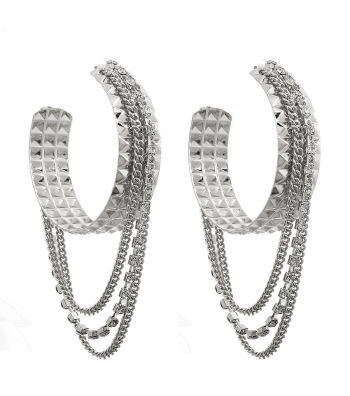 Silver Hoop Tassel Earrings - product images  of