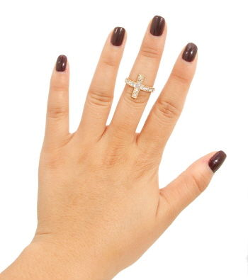 Gold Rhinestone Cross Midi Ring - product images  of