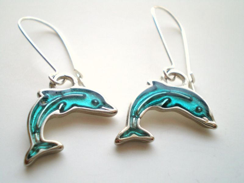 Silver and Aqua Dolphin Earrings Women's Animal Jewelry - product images  of