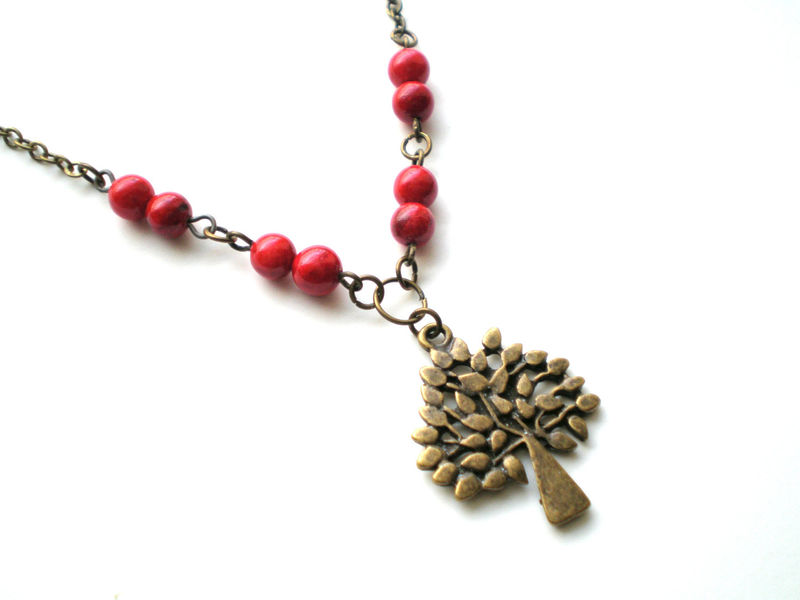 Red Beaded Brass Tree Necklace- Red Berry - product images  of