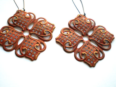 Rustic,Orange,Hand,Painted,Lotus,Filigree,Earrings,Jewelry,Metal,light_weight,painted_filigrees,lotus_flower,rustic_orange,hand_painted,orange_earrings,autumn_earrings,pumpkin_earrings,rustic_earrings,painted_earrings,flower_earrings,bohemian_earrings,under_25,filigrees,brass kidney earwires