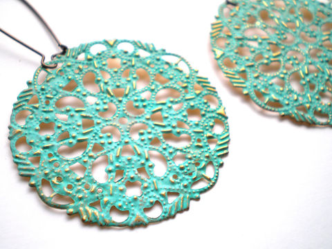 Verdigris,Filigree,Hand,Painted,Earrings,Women's,Fashion,Jewelry,Dangle,painted_brass,bridesmaid_gifts,painted_filigrees,painted_earrings,wholesale,verdigris_earrings,bohemian_earrings,green_earrings,mint_green_earrings,round_earrings,lightweight_earrings,under_20,jewellery,filigrees,brass kidney ear w