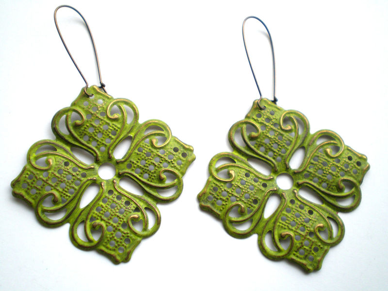 Citrus Green Hand Painted Lotus Filigree Earrings - product images  of