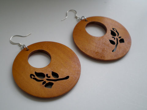 Honey,Carved,Rose,Wood,Earrings,Jewelry,Dangle,statement_earrings,under_25,hoop_earrings,wood_earrings,lightweight_earrings,brown_earrings,laser_cut_earrings,rose_earrings,nuetral_earrings,rose_wood,uniqu_earrings,filigrees,jump rings,sterling silver ear wires