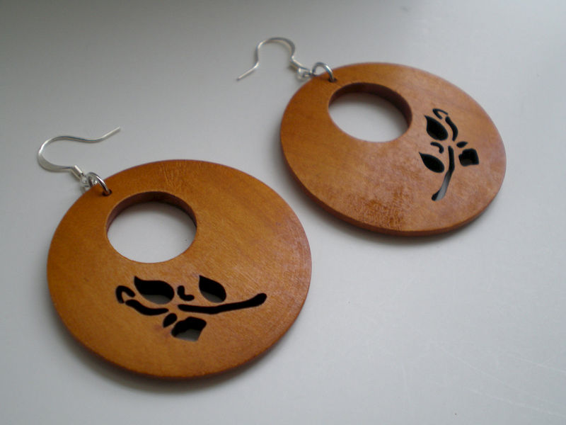 Honey Carved Rose Wood Earrings - product images  of