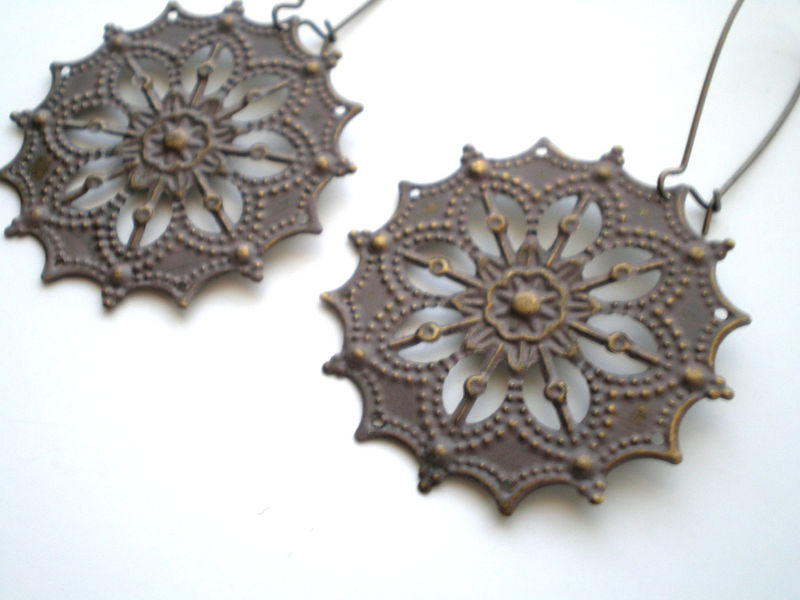 Neutral Taupe Hand Painted Gypsy Star Bohemian Earrings - product images  of