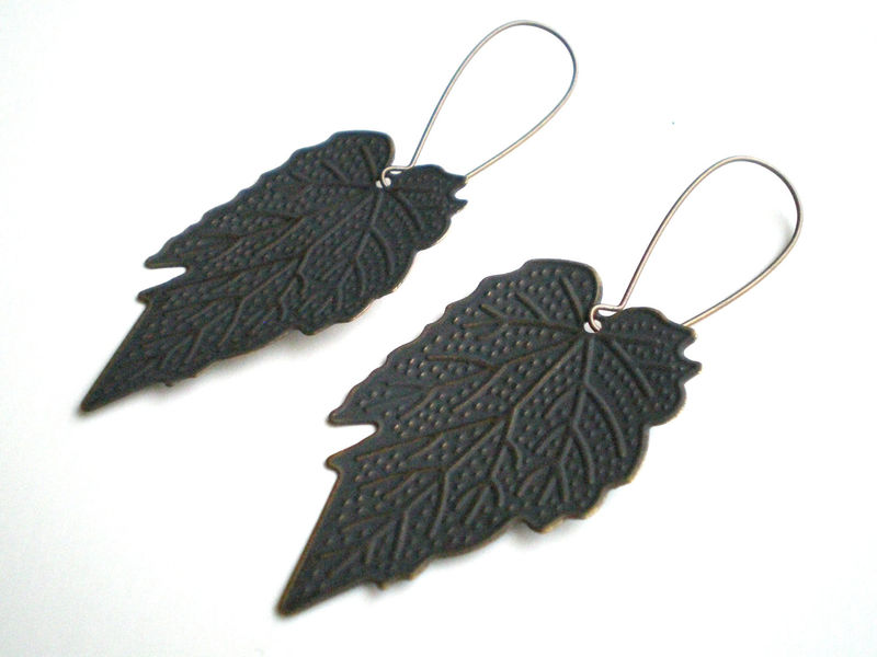 Charcoal Blue Hand Painted Leaf Earrings - product images  of