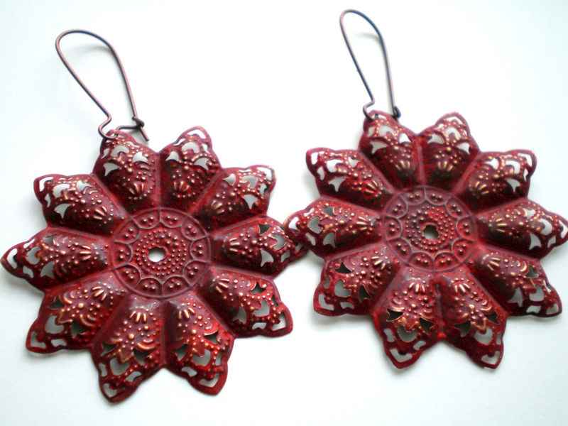 Tango Red Hand Painted Bohemian Star Filigree Earrings - product images  of