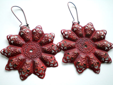 Tango,Red,Hand,Painted,Bohemian,Star,Filigree,Earrings,Jewelry,Dangle,red_earrings,painted_earrings,painted_filigrees,bohemian_earrings,star_earrings,copper_earrings,lightweight_earrings,under_25,expressionsbycheree,painted_metal,red_jewelry,new_jersey,filigrees,copper kidney earwires