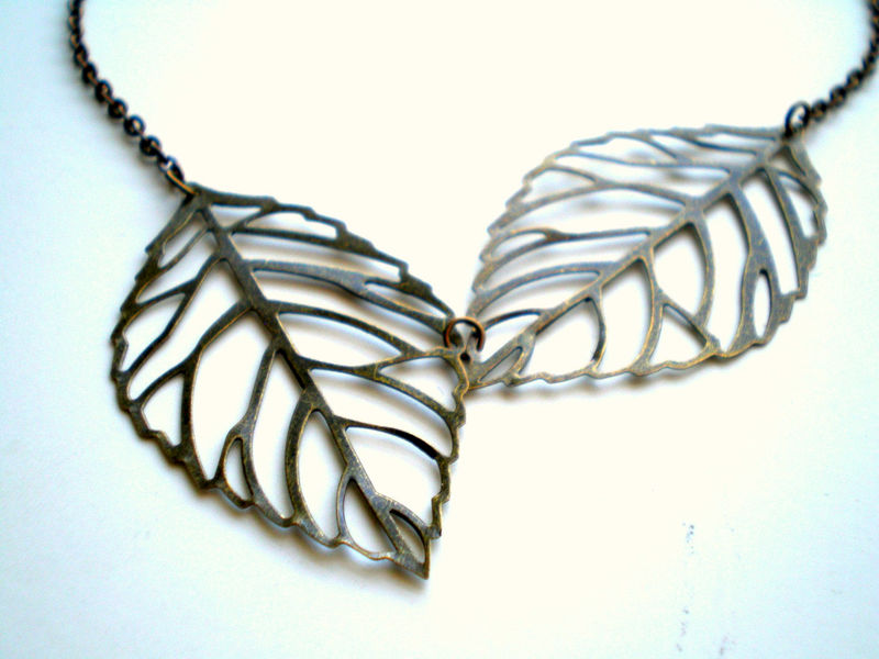 Together Forever Antique Brass Leaves Necklace - product images  of