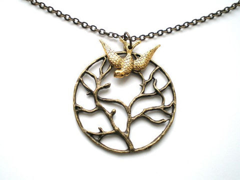 Branches,of,Life,Swallow,Necklace,Jewelry,Charm,jewelry_necklace,pendant_charm_bird,style_victorian_gold,bronze_swallow_metal,flight_flying_fly,chain_sparrow_brass,round_focal_fancy,vintage_tree_life,branches_unique,family_wisdom,pendant,chain,charm,lobster clasp