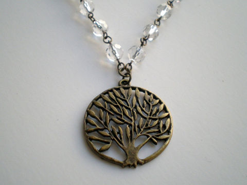 Crystal,Clear,Tree,of,Life,Necklace,Jewelry,Beadwork,tree_of_life,antique_brass,crystal_glass,statement_necklace,branches,leaves,beaded_necklace,autumn_necklace,tree_jewelry,clear_necklace,crystal_necklace,tree_necklace,pendants,chain,lobster clasp
