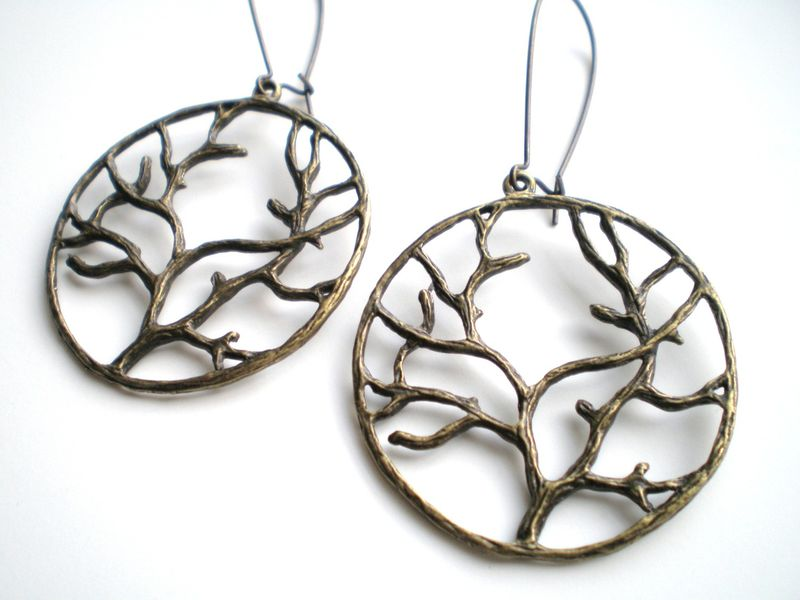 Brass Branches of Life Antique Brass Earrings - product images  of