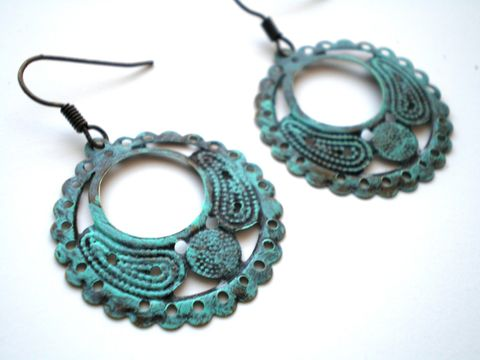 Verdigris,Hand,Painted,Round,Hoop,Filigree,Earrings,Jewelry,bridesmaid_gifts,small_hoop_earrings,painted_earrings,painted_filigrees,bohemian_earrings,lightweight_earrings,mint_green_earrings,green_earrings,blue_earrings,verdigris_earrings,small_earrings,hand_painted,stocking_stuffers,round filigre