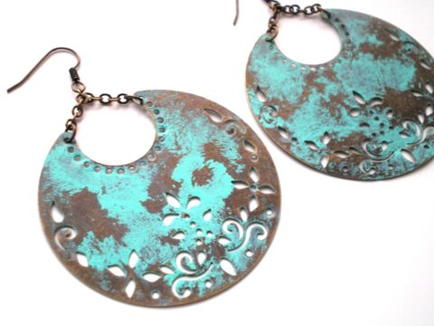 Hand,Painted,Verdigris,Crescent,Moon,Bohemian,Earrings,Jewelry,Dangle,bridesmaid_gifts,painted_earrings,crescent_earrings,bohemian_earrings,hand_painted_earring,verdigris_earrings,mint_green_earrings,half_moon_earrings,bo_ho_earrings,distressed_earrings,under_25,wholesale,consignment,filigrees,ear wi