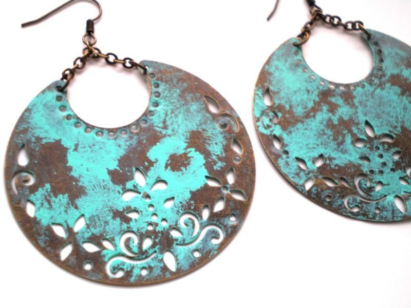 Hand Painted Verdigris Crescent Moon Bohemian Earrings - product images  of