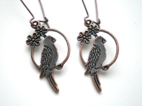 Antique,Copper,Parrot,Bird,Earrings,Jewelry,Dangle,antique_copper,flowers,small_earrings,woodland,bird_earrings,parrot_earrings,animal_earrings,lightweight_earrings,under_25,nature_earrings,antique copper bird charms,antique copper kidney ear wires