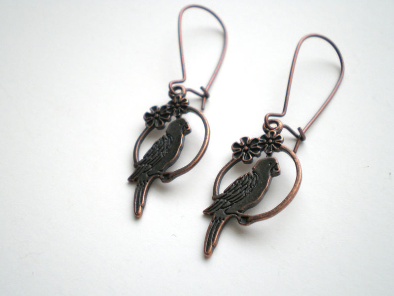 Antique Copper Parrot Bird Earrings - product images  of